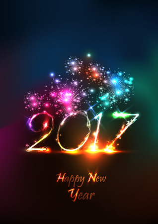 Happy new year 2107 greeting card with fireworks