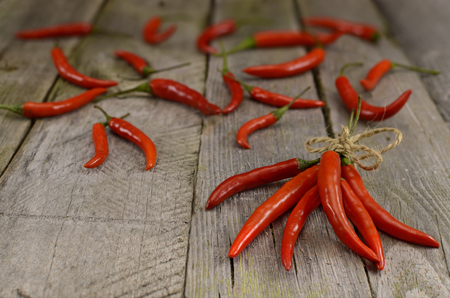 peper: Hot red chili on wooden background