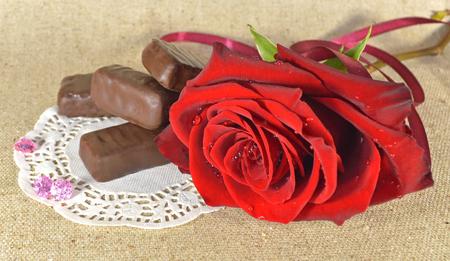 장미 및 초콜릿 사탕