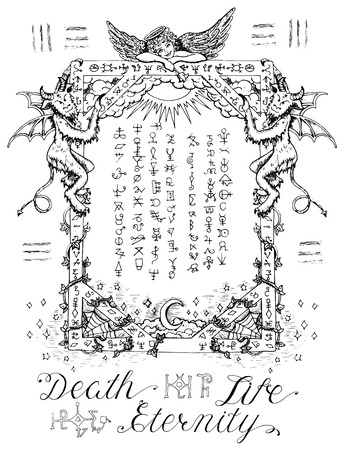 wiccan: Gothic frame or magic border with angel and demons, heaven and hell religious background. Sketch illustration with mystic and occult hand drawn symbols. Halloween and esoteric concept