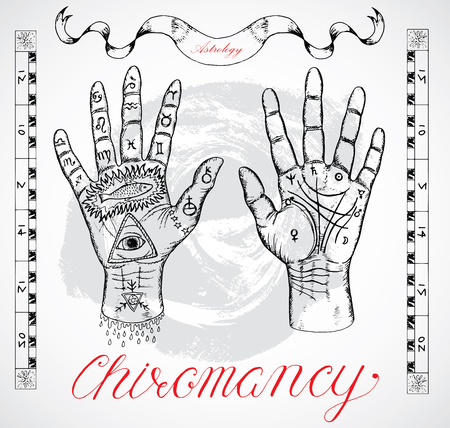 esoteric: Vintage chiromancy chart with hands, palms, fingers and lines. Sketch graphic illustration with mystic and occult hand drawn symbols. Halloween, astrological and esoteric concept