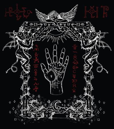 Magic Frame mit chiromancy Palme, Dämonen und Engel. Himmel und Hölle religiösen Hintergrund. Sketch Illustration mit mystischen und okkulten Hand gezeichnete Symbole. Halloween und esoterische Konzept