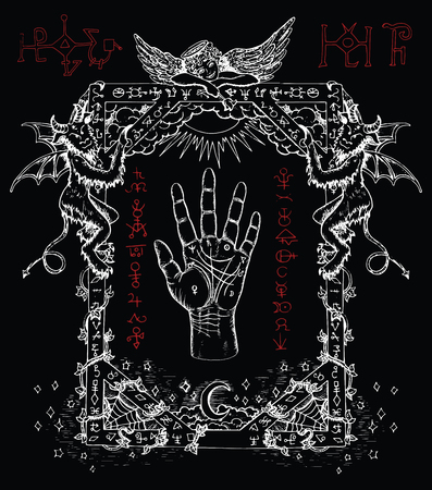 occult: Magic frame with chiromancy palm, demons and angel.  Heaven and hell religious background. Sketch illustration with mystic and occult hand drawn symbols. Halloween and esoteric concept Illustration