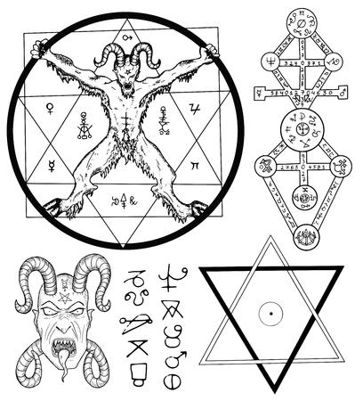 satan: Magia fija con el diablo, Satanás, estrella de cinco puntas y símbolos místicos. Colección de ilustraciones de dibujo con símbolos místicos y ocultos dibujados a mano. Halloween y el concepto esotérico