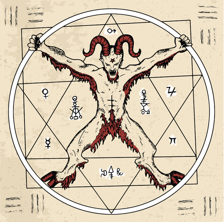 wiccan: Magic circle with Devil or demon and pentagram inside on textured background. Sketch illustration with mystic and occult hand drawn symbols. Halloween and esoteric concept