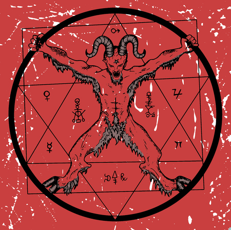 wiccan: Devil with pentagram in circle on red textured background. Sketch illustration with mystic, hell and occult hand drawn symbols. Halloween and esoteric concept, evil emblem