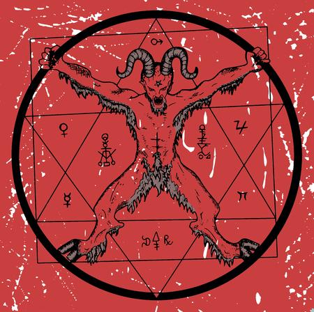 Teufel mit Pentagramm im Kreis auf rotem strukturiertem Hintergrund. Sketch Illustration mit mystischen, Hölle und okkulte Hand gezeichnete Symbole. Halloween und esoterische Konzept, das Böse Emblem