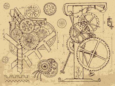 レトロなメカニズムおよび織り目加工の背景にスチーム パンクなスタイルのマシン。手描き下ろしグラフィック イラスト、スケッチ タトゥー、歯車、歯車と車輪でレトロな技術コレクション ベクターイラストレーション