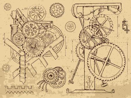 Retro mechanisms and machines in steampunk style on textured background. Hand drawn graphic illustration, sketch tattoo, retro technology collection with cogs, gear and wheels Ilustração