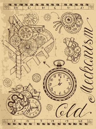Alte Mechanismus der Uhr im Steampunk-Stil auf strukturierten Hintergrund. Hand gezeichnete Grafik Illustration, Skizze Tattoo, Retro-Technologie Sammlung mit Schriftzug, Zahnräder, Getriebe und Räder