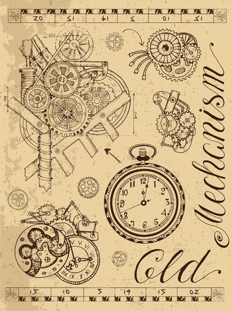 Old mechanism of clock in steampunk style on textured background. Hand drawn graphic illustration, sketch tattoo, retro technology collection with lettering, cogs, gear and wheels Çizim