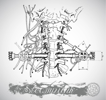 vintage anatomy: Human anatomy throat with vintage mechanism in theam punk style. Hand drawn illustration, sketch tattoo, old black and white science background with lettering Illustration