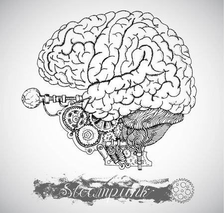 old style lettering: Human anatomy brain and eye with vintage mechanism in steam punk style. Hand drawn illustration, sketch tattoo, old black and white science background with lettering