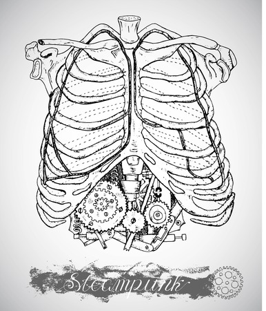 ribs: Human anatomy chest with vintage mechanism in ribs. Steam punk style with bones and machine. Hand drawn illustration, sketch tattoo, old black and white science background with lettering