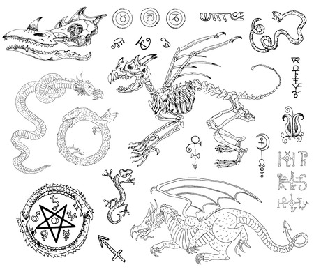 Graphic set with monster skeleton and skull, dragons, snake, lizard and mystic symbols. Hand drawn illustration, sketch tattoo, old black and white collection of fable or fantasy animals Ilustração