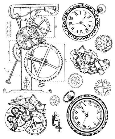 スチーム パンクなスタイルのビンテージ時計機構とグラフィックのセットです。手描き下ろしイラスト、スケッチ タトゥー、歯車、ギア、ホイール、レトロな機械と古い黒と白の技術コレクション