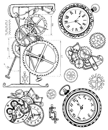 Graphic set with vintage clock mechanism in steampunk style. Hand drawn illustration, sketch tattoo, old black and white technology collection with cogs, gear, wheels and retro machines Vettoriali