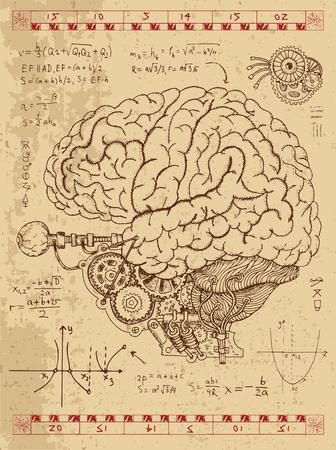 Gráfico fijado con las fórmulas mecánicas del cerebro, los ojos y matemáticas humanos en el estilo punky del vapor. Dibujado a mano ilustración de la vendimia, tatuaje anatomía bosquejo, ciencia fondo de edad con símbolos esotéricos Foto de archivo - 61054879
