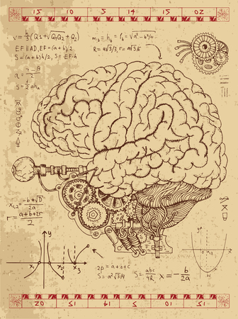 Graphic set with mechanical human brain, eye and math formulas in steam punk style. Hand drawn vintage illustration, sketch anatomy tattoo, old science background with esoteric symbols Illustration
