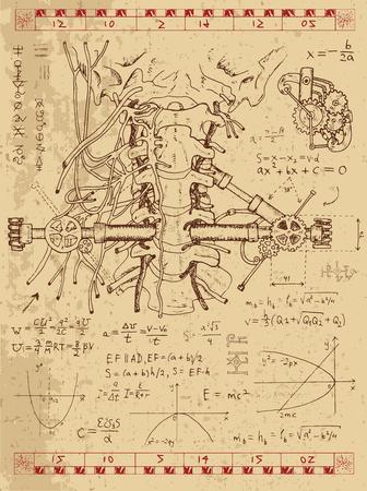 Gráfico fijado con las fórmulas matemáticas, la garganta y el mecanismo de la anatomía humana en el estilo punky del vapor. Dibujado a mano ilustración de la vendimia, tatuaje boceto, ciencia fondo de edad con símbolos esotéricos Ilustración de vector