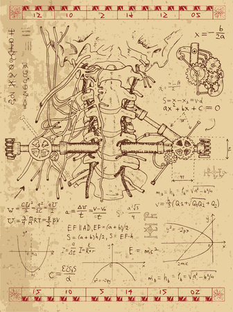 Graphic set with math formulas, human anatomy throat and mechanism in steam punk style. Hand drawn vintage illustration, sketch tattoo, old science background with esoteric symbols Vettoriali