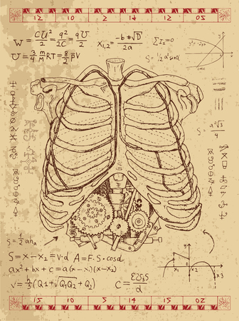 Graphic set with human anatomy chest, math formulas and steam punk mechanism in ribs. Hand drawn vintage illustration, sketch tattoo, old science background with esoteric symbols