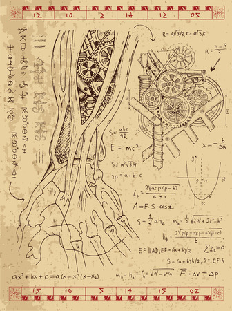 Graphic set with steam punk mechanism in anatomy hand, math formulas and retro machine. Hand drawn vintage illustration, sketch tattoo, old science background with esoteric symbols