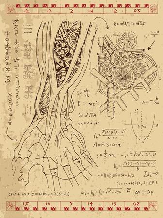 Gráfico fijado con mecanismo de vapor punk en la mano anatomía, fórmulas matemáticas y la máquina retro. Dibujado a mano ilustración de la vendimia, tatuaje boceto, ciencia fondo de edad con símbolos esotéricos Foto de archivo - 61054881