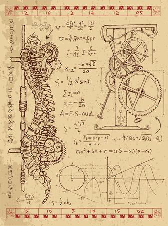 Gráfico fijado con el mecanismo de punk vapor en la columna vertebral humana, fórmulas matemáticas y la máquina retro. Dibujado a mano ilustración de la vendimia, tatuaje boceto, ciencia fondo de edad con símbolos místicos