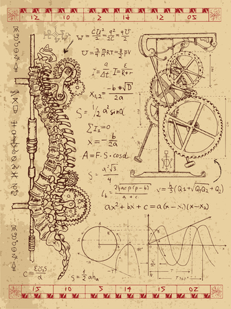 backbone: Graphic set with steam punk mechanism in human backbone, math formulas and retro machine. Hand drawn vintage illustration, sketch tattoo, old science background with mystic symbols