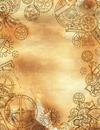 Grafisch lineair frame met mechanische onderdelen, tandwielen en tandwielen op oude papier textuur achtergrond. Rand met handgetekende elementen. Steampunk en oude technologie stijl Stockfoto