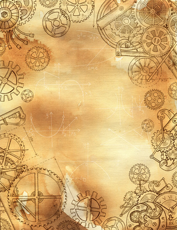 mechanical parts: Graphic linear frame with mechanical parts, gears and cogs on old paper texture background. Border with hand drawn elements. Steampunk and old technology style