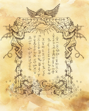 wiccan: Mystic graphic frame with angel, demons and symbols on old paper textured background. Religious and spiritual illustration with hand drawn linear elements