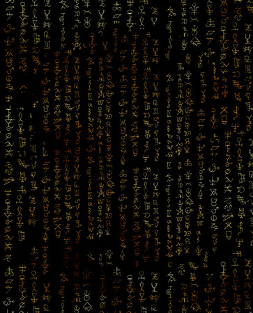 Abstract background with golden symbols on black texture for wallpapers, cards, print, arts. Magic and occult linear pattern with hand drawn elements. Halloween and mystic concept