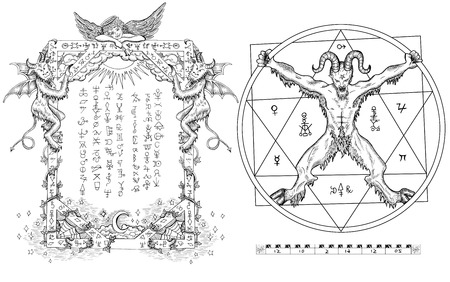 wiccan: Graphic gothic set with devil in circle, pentagram and religious frame with angel and demons. Hand drawn engraved illustration, occult and esoteric concept