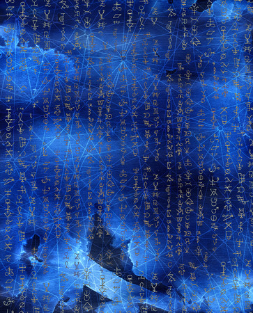 wiccan: Abstract background with golden mystic symbols on blue texture for wallpapers, cards, print, arts. Magic and occult linear pattern with hand drawn elements. Halloween concept