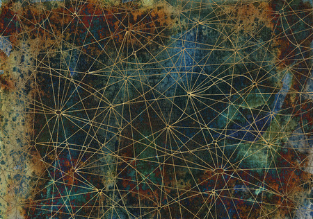 the arts is ancient: Abstract background with crossed lines on ancient texture for wallpapers, cards, textile, arts. Mystic or occult linear pattern with hand drawn network Stock Photo
