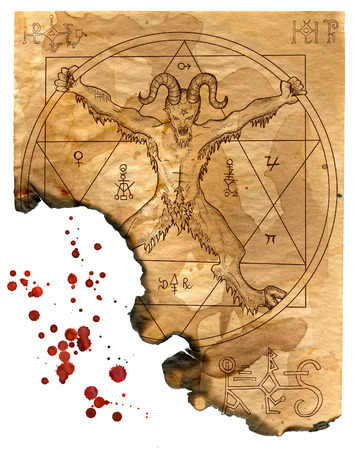 wiccan: Isolated page of magic book with devil, pentagram and mystic symbols. Hand drawn illustration with bloody drops for Halloween art