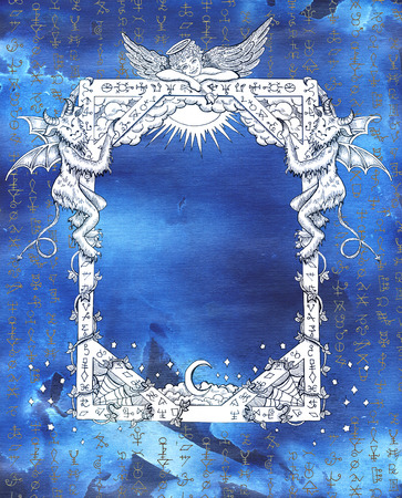 wiccan: Vintage frame with angel, demons and mystic symbols on blue textured background.  Religious and spiritual illustration with hand drawn linear elements
