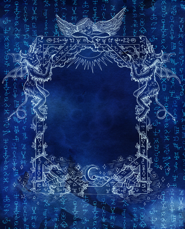 Abstract background with golden mystic symbols on blue texture for wallpapers, cards, print, arts. Magic and occult linear pattern with hand drawn elements. Halloween concept