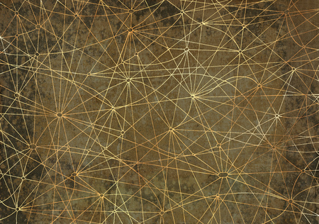 gray netting: Abstract background with golden network lines on gray texture for wallpapers, cards, textile, arts. Antique linear pattern with vintage hand drawn elements, old map style