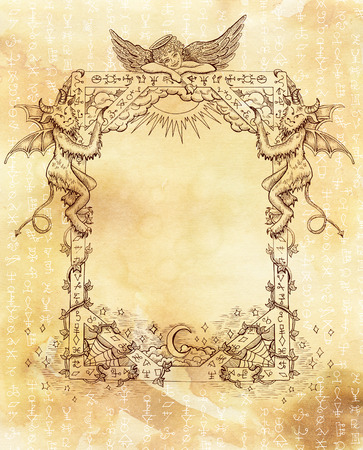 wiccan: Vintage frame with angel, demons and white mystic symbols on old paper textured background. Religious and spiritual illustration with hand drawn linear elements