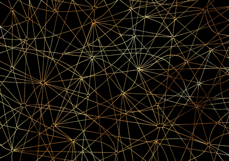 occult: Abstract background with golden shining lines on black texture for wallpapers, cards, textile, arts. Mystic, space or occult linear pattern with hand drawn elements Stock Photo