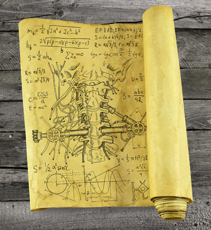 mechanical parts: Old paper scroll with human throat, mechanical parts and formulas on wooden background, steampunk style. Scary science concept