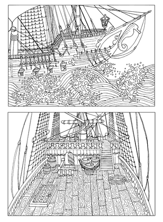 Black and white drawings of sailing ship decks with details