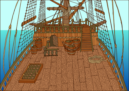 Illustration of wooden deck of old sailing ship