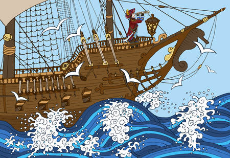 Illustration of pirate captain watching long glass in storm in a ship Illustration