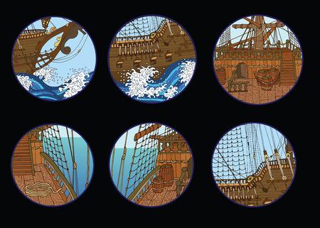 Design set with old sailing ship elements in round frames Illustration