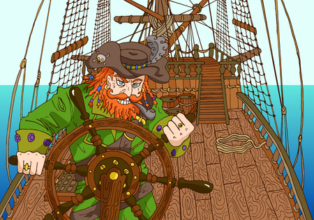 Pirate captain holding wheel on ships deck illustration