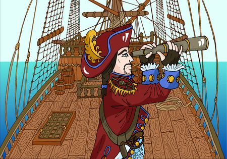 Pirate captain on ships deck using his spy glass vector